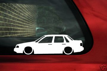 2x LOW Volvo 460 Turbo, GLT sedan saloon outline silhouette stickers, decals